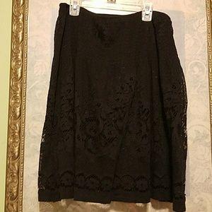 Black Lace Skater Skirt